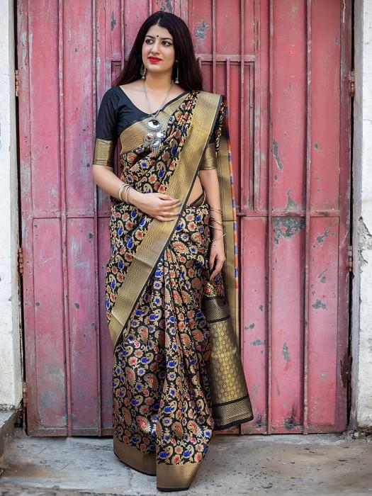 Banarasi Silk Fabric Black Saree