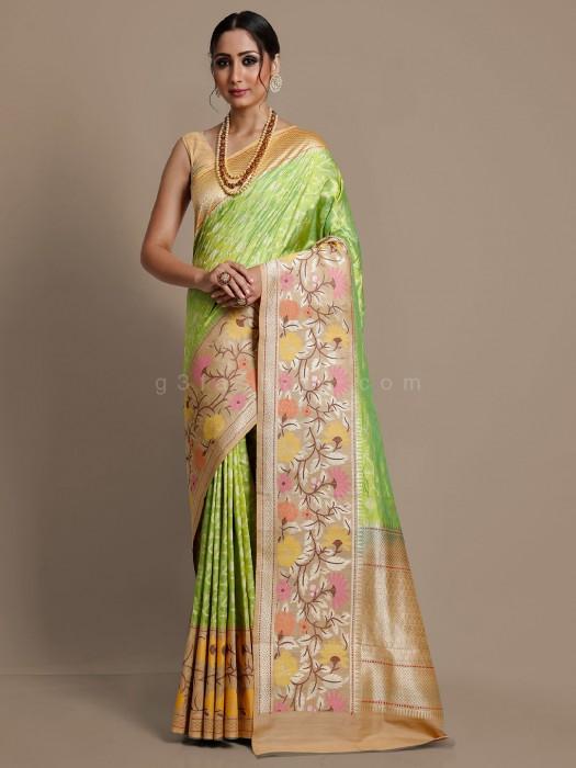 Banarasi Silk Parrot Green Saree
