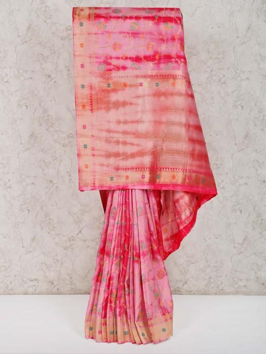 Banarasi Silk Pink Reception Saree