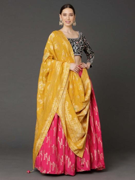 Banarasi Silk Pink Wedding Function Lehenga Choli