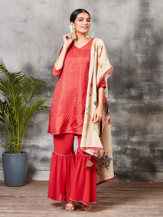 Banarasi Silk Red Hue Punjabi Sharara Suit