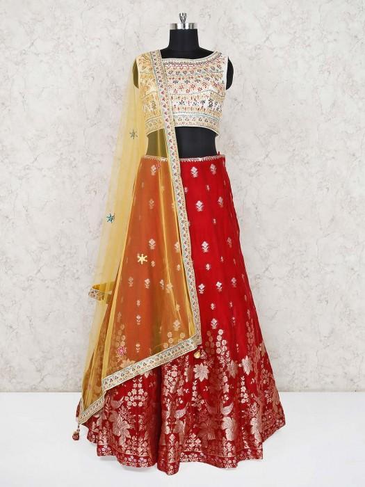 Banarasi Silk Red Wedding Lehenga Choli
