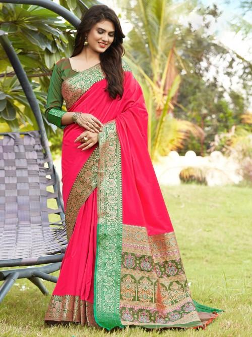 Banarasi Silk Wedding Wear Saree In Magenta