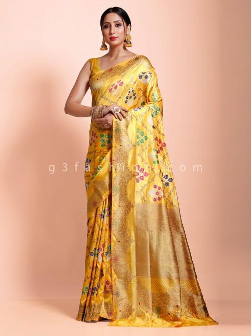 Banarasi Silk Yellow Reception Wear Designer Saree