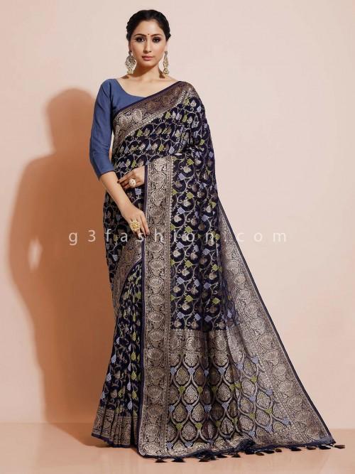 Bandhej Georgette Blue Saree For Weddings