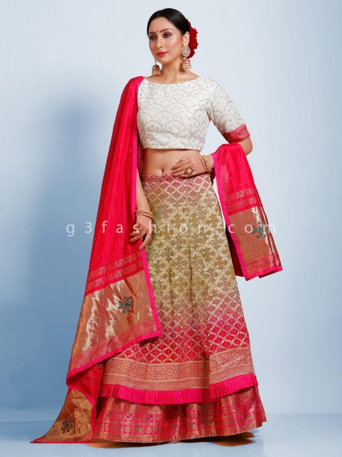 Bandhej Wedding Half N Half Designer Lehenga Choli In Olive And White