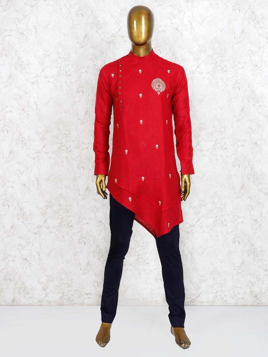 Bandhgala Pattern Red Cotton Kurta Suit