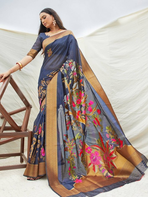 Beautiful Blue Printed Saree In Cotton