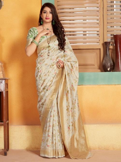 Beautiful Cream Wedding Semi Banarasi Silk Saree