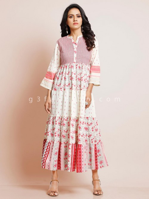 Beautiful Floral White Kurti In Cotton