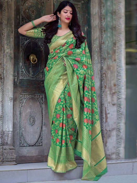 Beautiful Green Hue Saree In Semi Silk