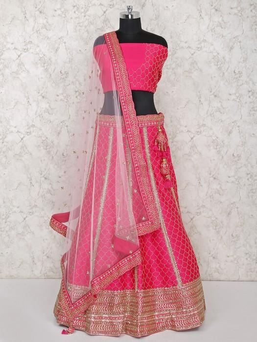 Beautiful Magenta Silk Bridal Semi Stitched Lehenga Choli