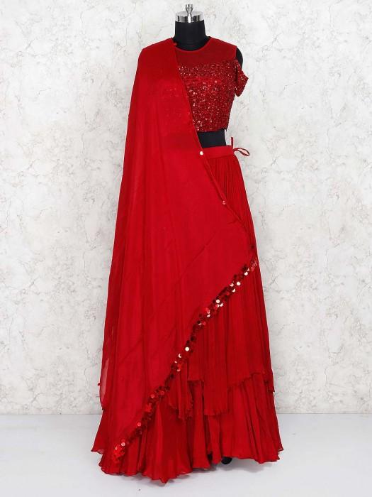 Beautiful Maroon Color Tissue Silk Lehenga Choli