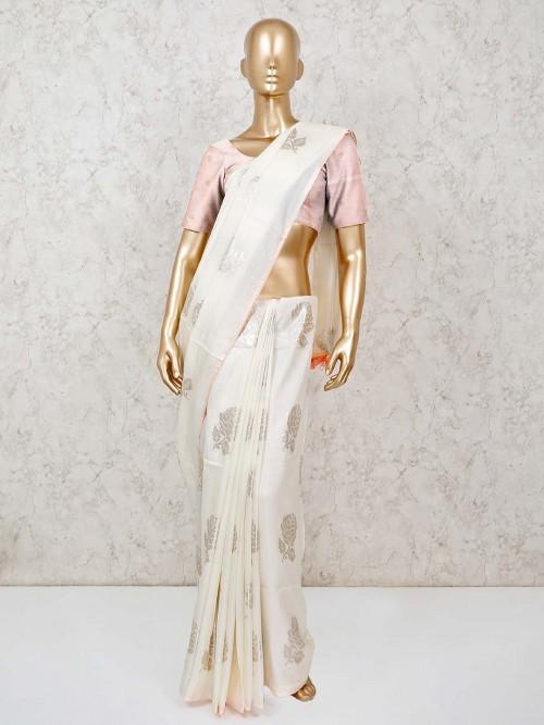 Beautiful Off White Dola Silk Saree