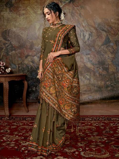 Beautiful Olive Green Banarasi Silk Saree For Wedding