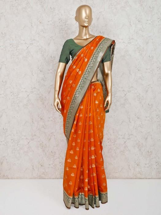 Beautiful Orange Cotton Silk Saree