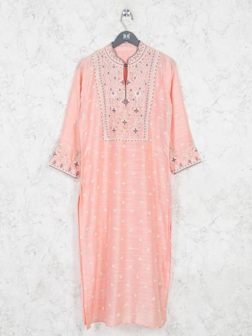 Beautiful Peach Cotton Festive Wear Kurti