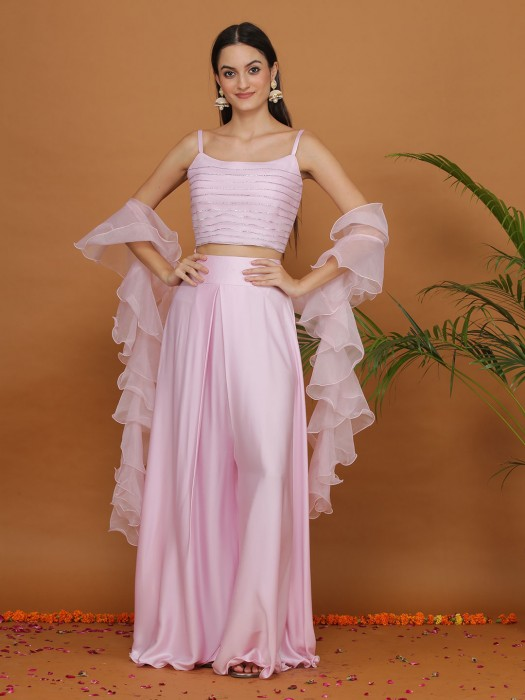 Beautiful Pink Satin Designer Crop Top Palazzo Suit