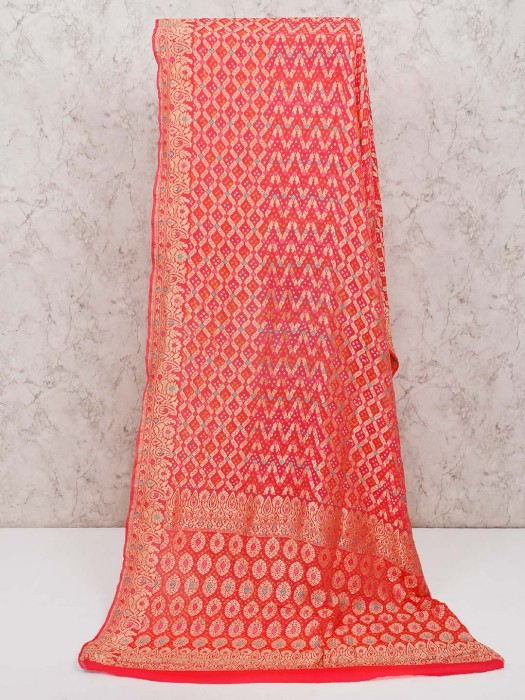 Beautiful Pink Wedding Bandhej Saree