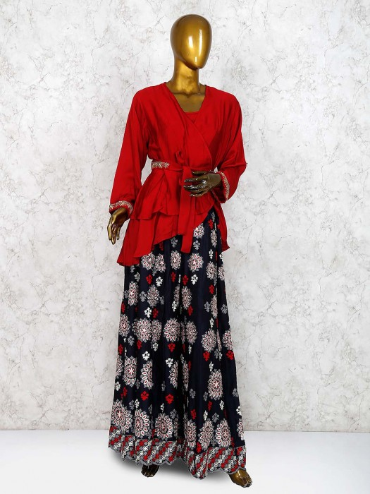 Beautiful Red Color Cotton Silk Indo Western Palazzo Suit