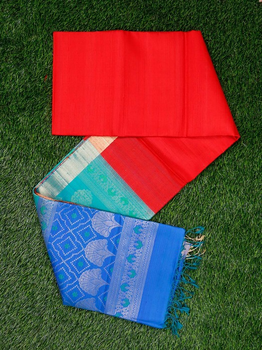 Beautiful Red Color Pure Silk Fabric Saree