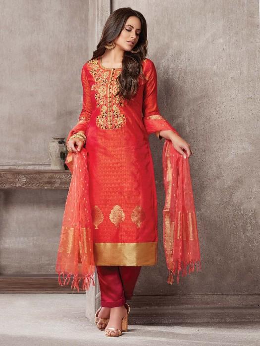 Beautiful Red Hue Festive Wear Punjabi Salwar Suit