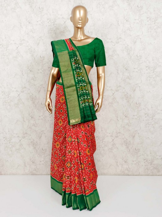 Beautiful Red Patola Silk Saree With Blouse
