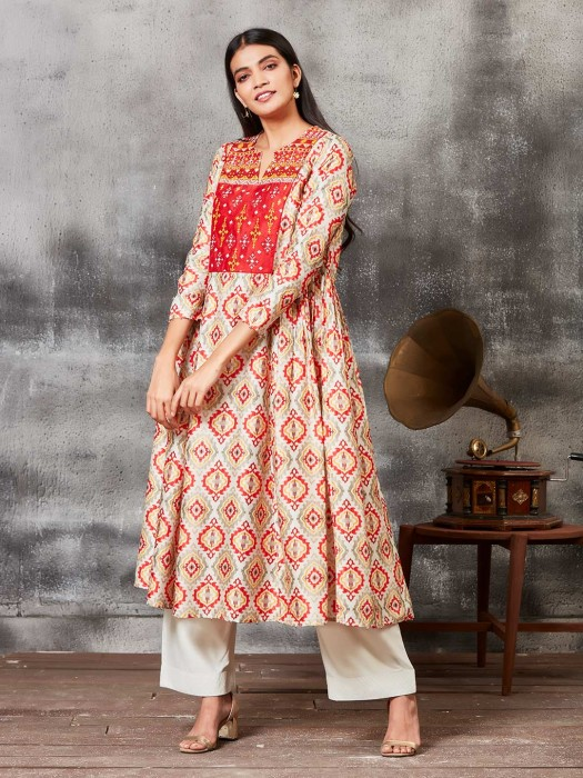 Beautiful Red Printed Raw Silk Punjabi Salwar Suit