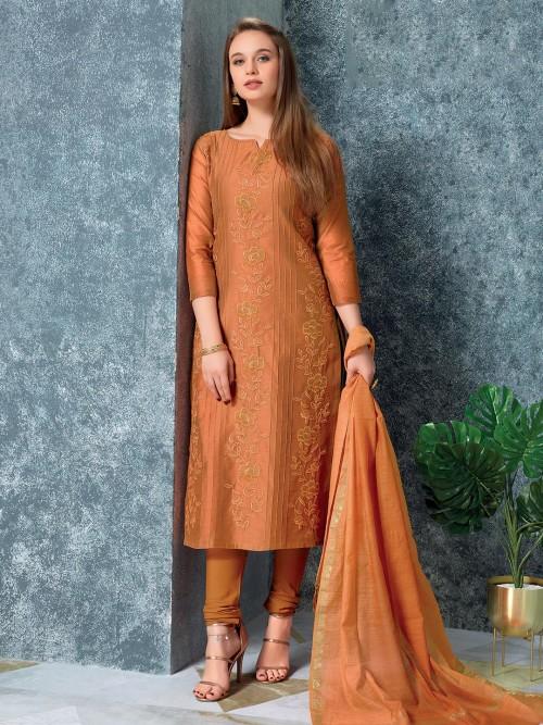 Beautiful Rust Orange Cotton Punjabi Salwar Suit