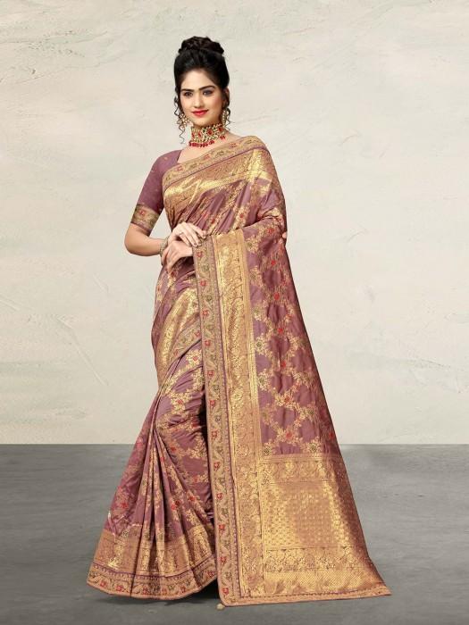 Beautiful Violet Saree In Banarasi Silk