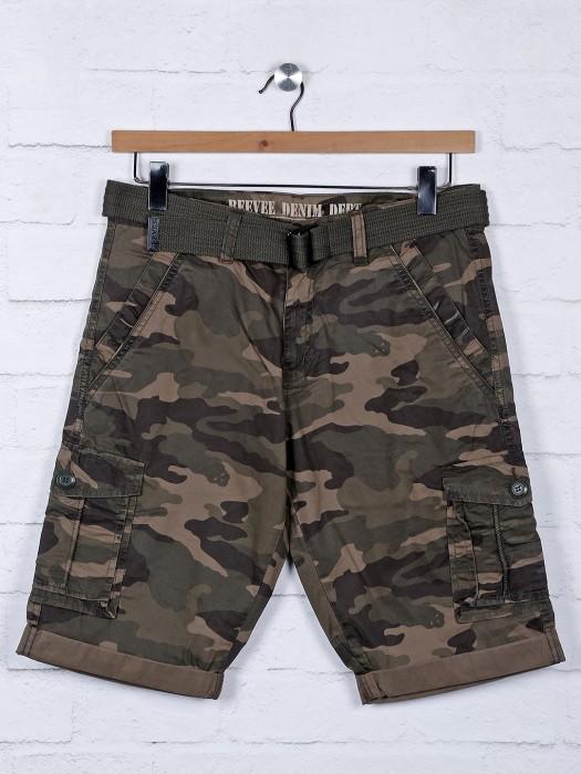 Beevee Green Printed Mens Shorts