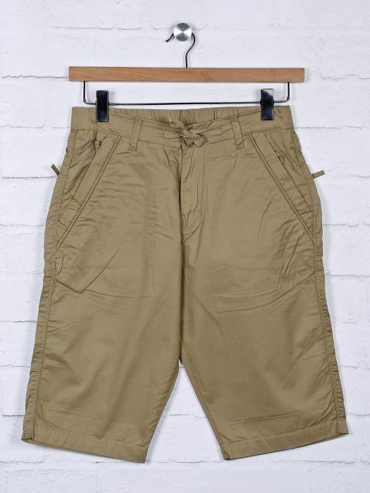 Beevee Presented Solid Khaki Hue Shorts