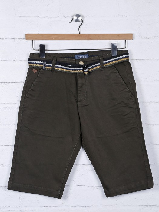 Beevee Solid Olive Hue Slim Fit Shorts