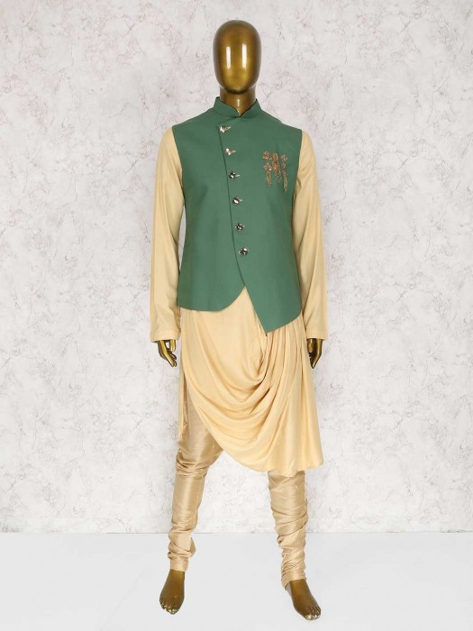 Beige And Green Terry Rayon Waistcoat Set