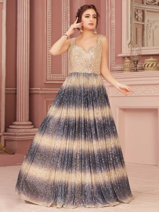 Beige And Grey Shaded Gown With Sequins Embellishment