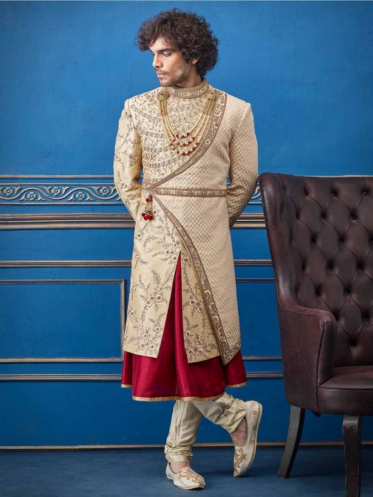 Beige And Maroon Double Layer Raw Silk Sherwani