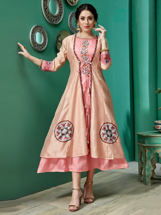 Beige And Pink Cotton Silk Double Layer Kurti
