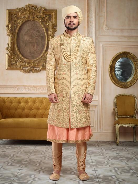 Beige And Pink Groom Wear Sherwani
