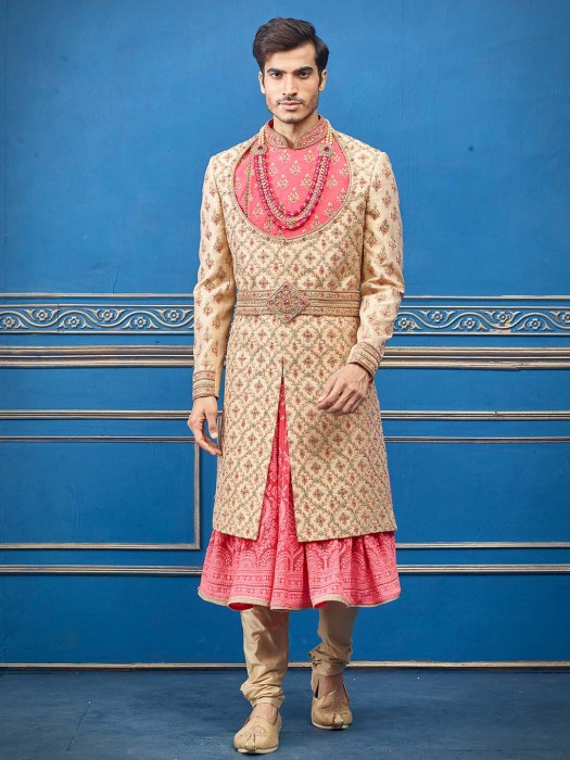 Beige And Pink Raw Silk Mens Stunning Sherwani