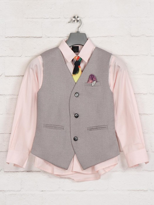 Beige And Pink Solid Mens Waistcoat Shirt
