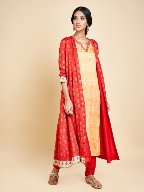 Beige And Red Printed Jacket Style Punjabi Salwar Suit In Cotton
