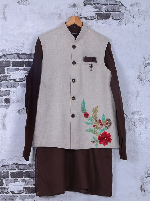 Beige Brown Silk Waistcoat Set