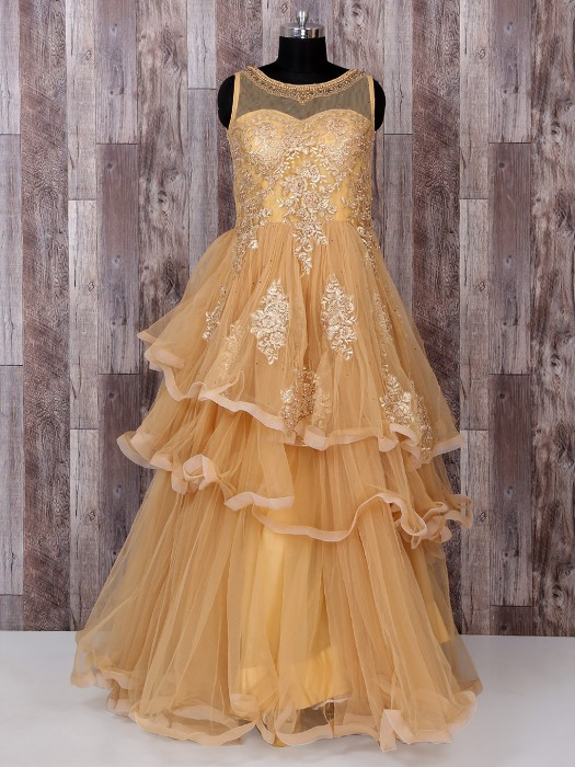 Beige Color Frill Style Net Gown