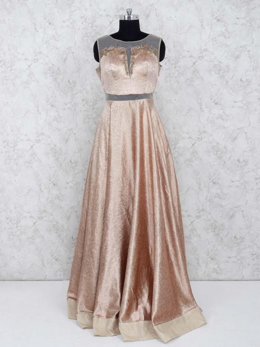 Beige Color Gown In Silk