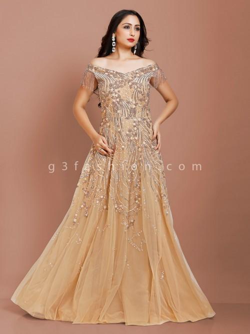 Beige Color Net Fabric Party Wear Gown