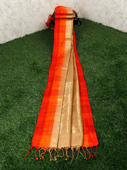Beige Color Silk Wedding Wear Saree