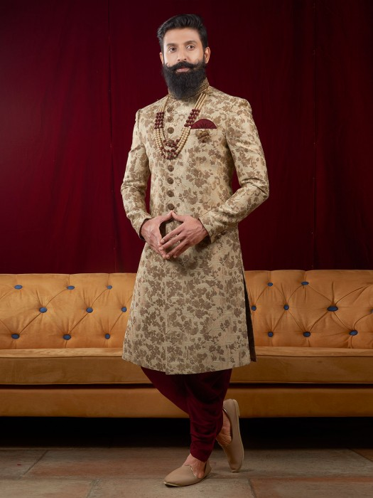 Beige Color Wedding Function Indo Western