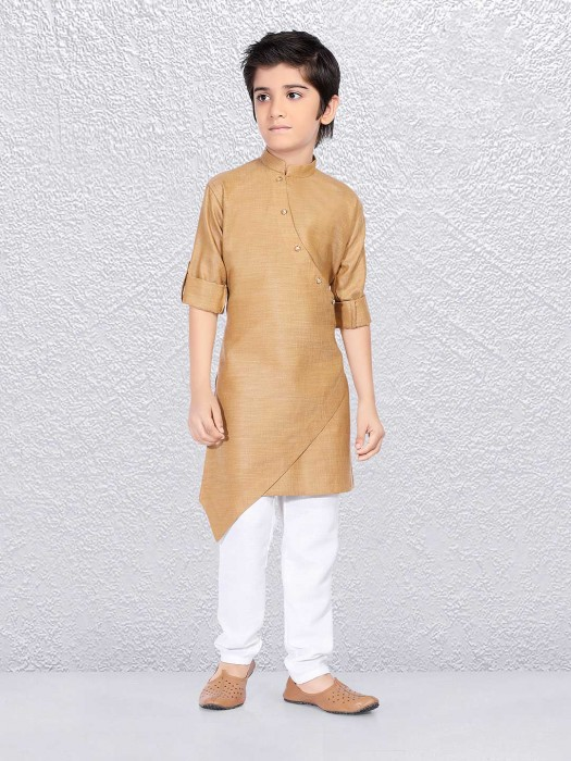 Beige Cotton Fabric Kurta Suit For Boys