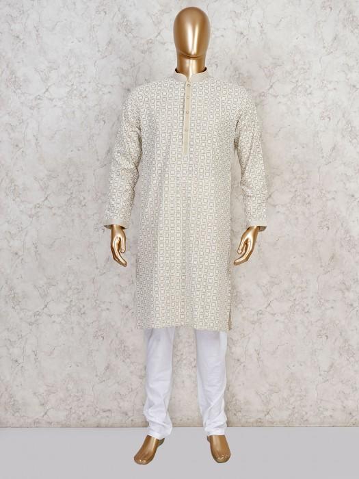 Beige Cotton Festive Occasion Kurta Suit