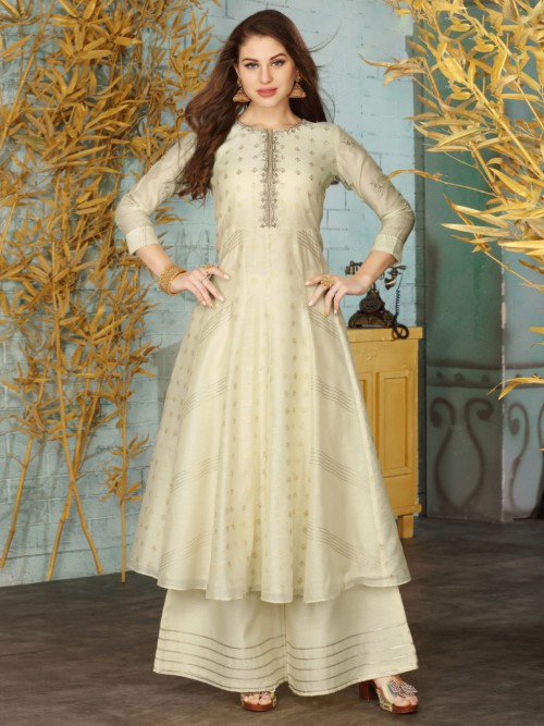 Beige Cotton Festive Wear Designer Punjabi Palazzo Suit
